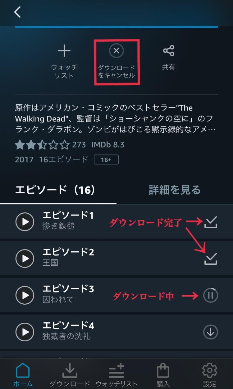 Amazonプライムビデオでダウンロード完了した時の画面