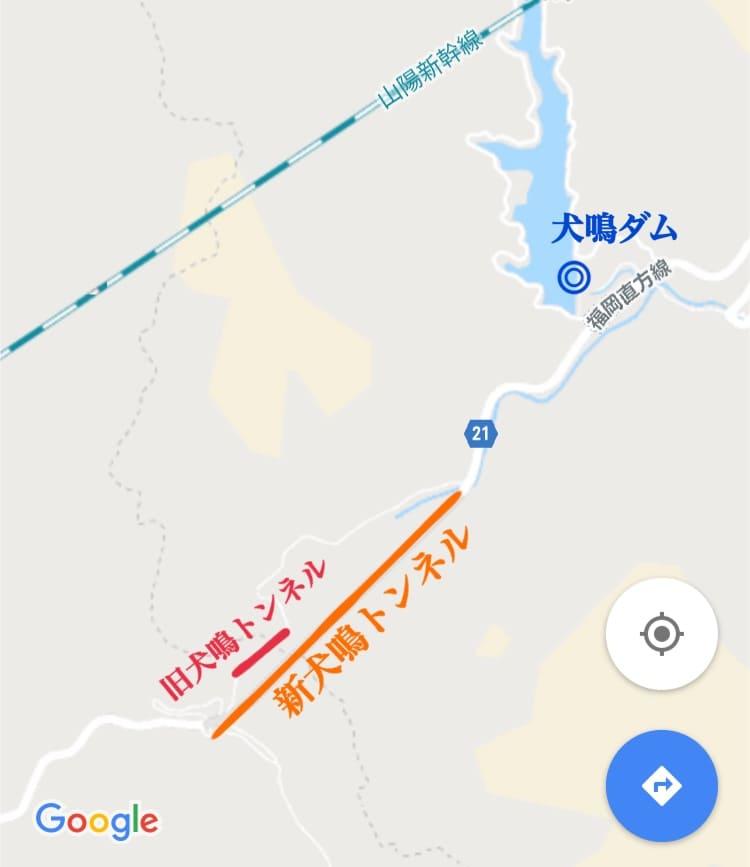犬鳴村と旧犬鳴トンネルへの地図と場所